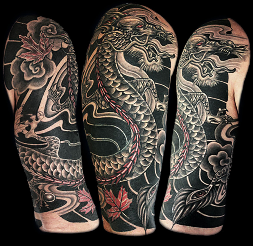 Japanese Dragon Half Sleeve Cover Up Tattoo Abyss