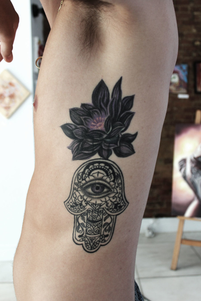 Black lotus hamsa cover up tattoo abyss for Dark lotus tattoo