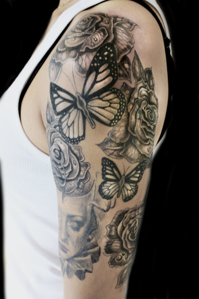 Roses And Butterflies Tattoo Abyss