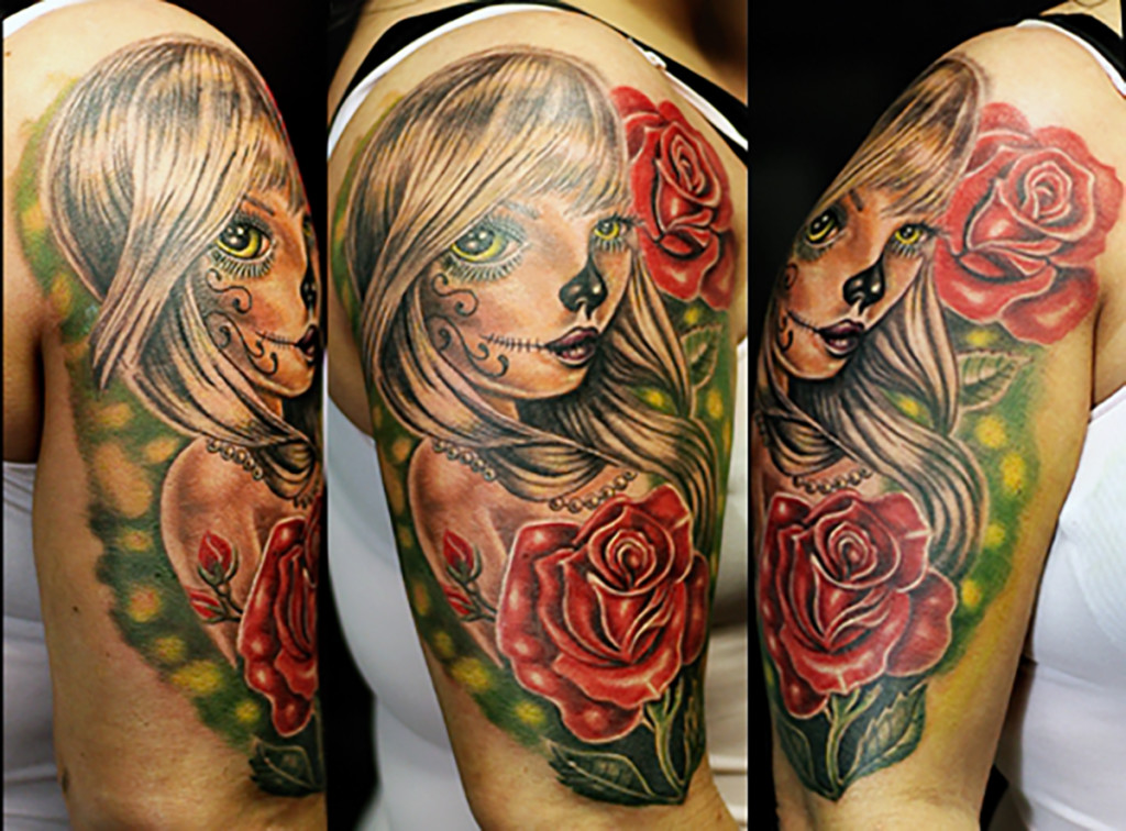 Girl Rose New School Tattoo | Tattoo Abyss