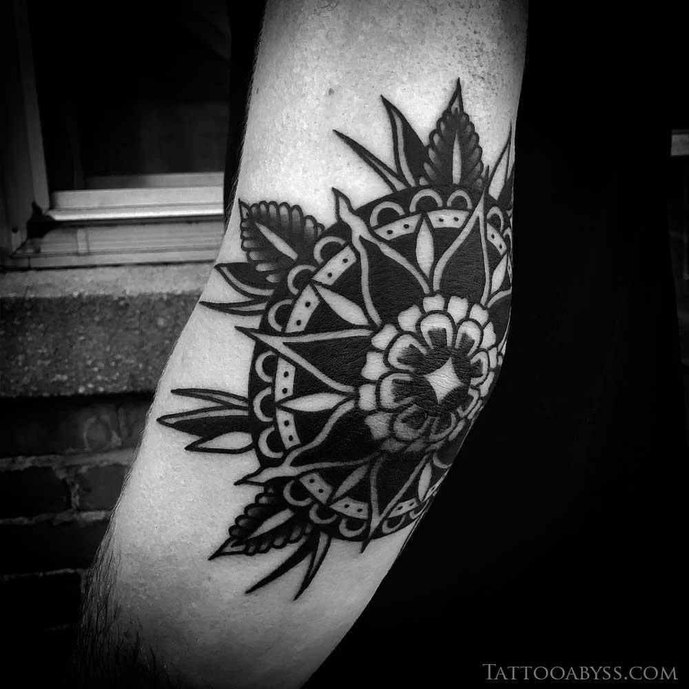 Traditional Elbow Mandala Tattoo Abyss