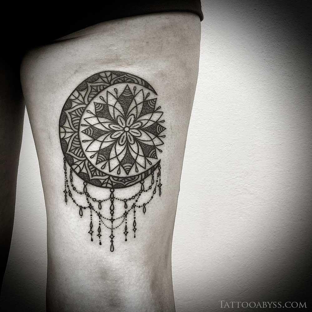 mandala moon dotwork tattoo tattoo abyss. Black Bedroom Furniture Sets. Home Design Ideas