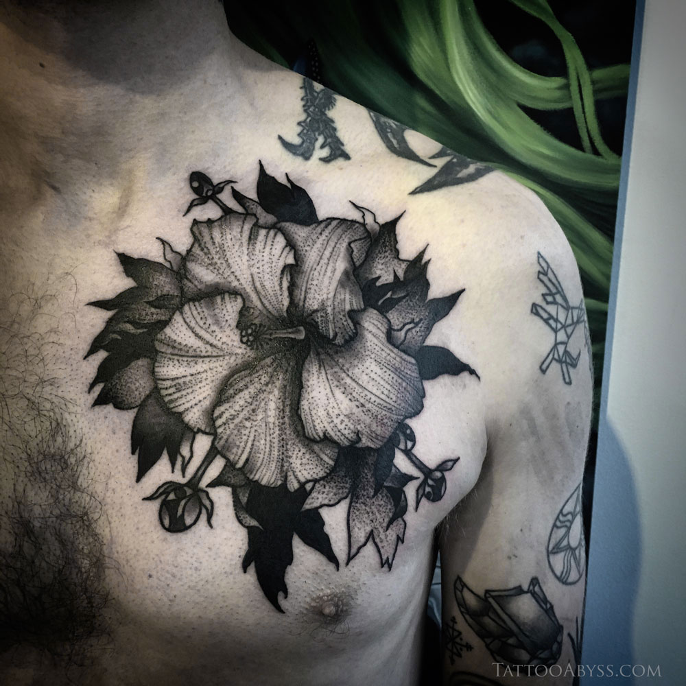 Traditional hibiscus chest tattoo tattoo abyss hibiscus traditional tattoo abyss izmirmasajfo