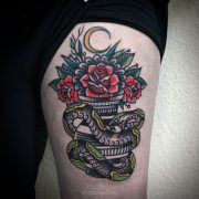 snake-rose-vase-traditional-tattoo-abyss