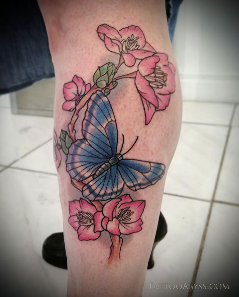 Cherry Blossoms And Butterfly Tattoo Abyss