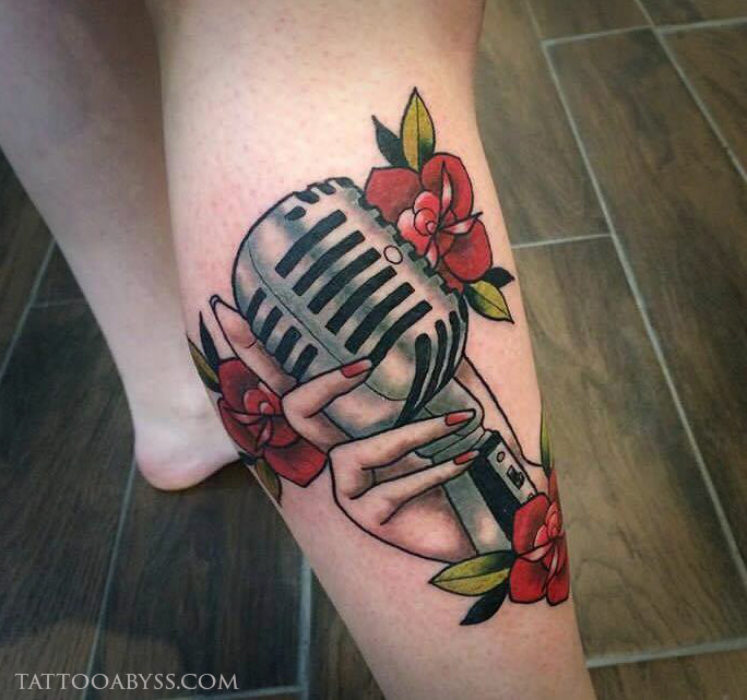 Hand Holding Vintage Microphone | Tattoo Abyss