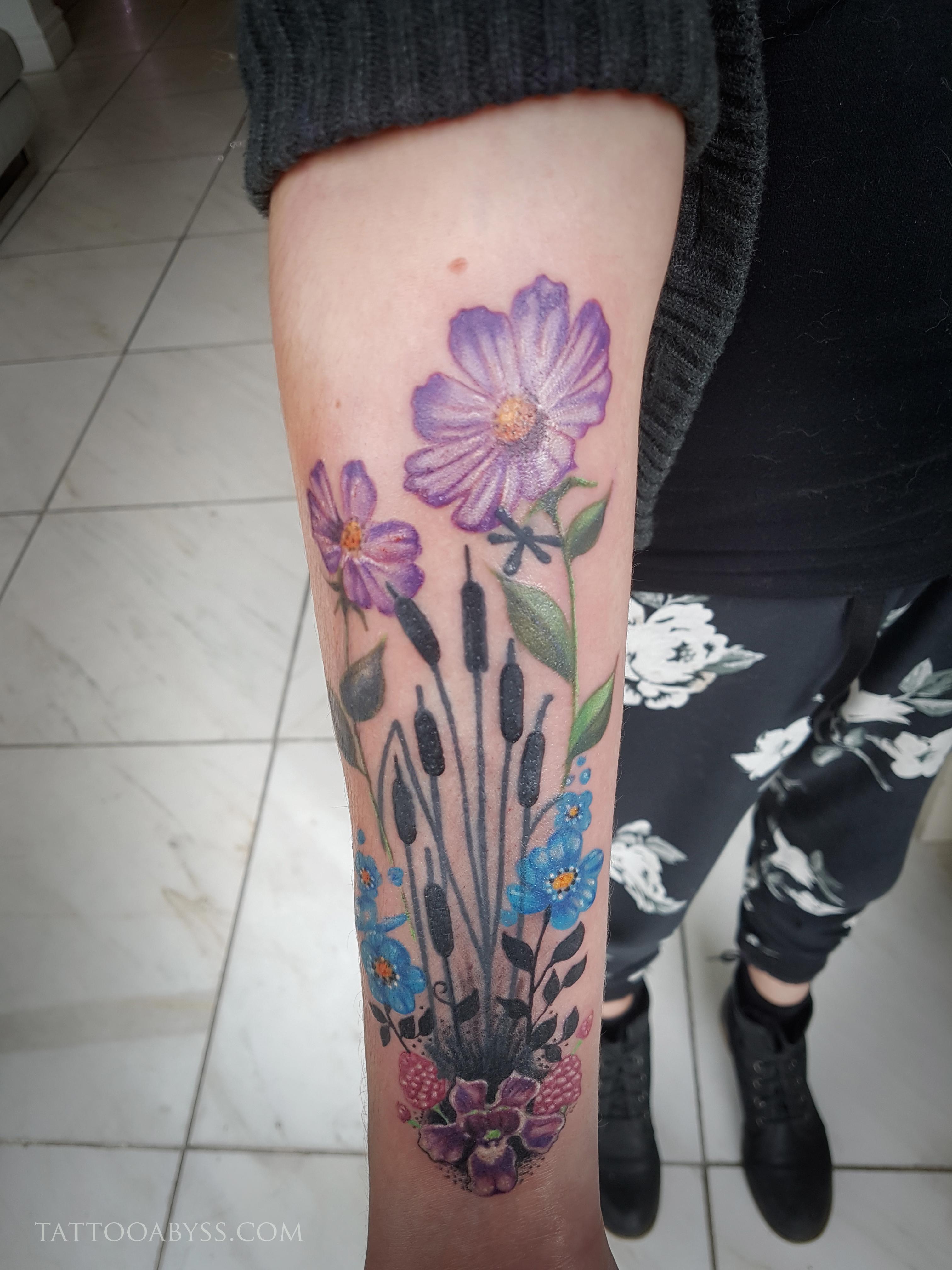 Floral Bouquet Back Tattoo: Floral Bouquet (Semi-Cover)