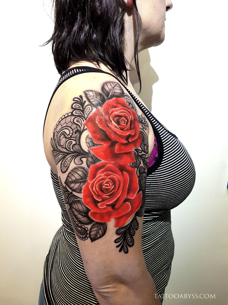 Roses lace tattoo abyss for Rose lace tattoo